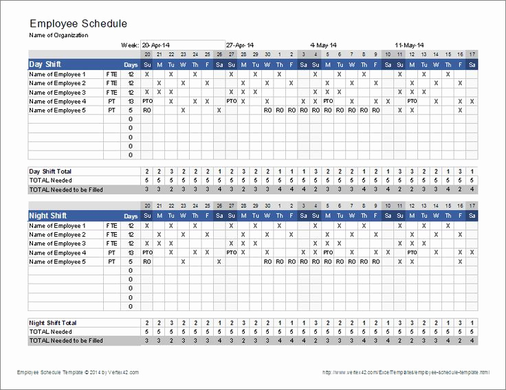 Free Employee Schedule Template Awesome Download the Employee Schedule Template From Vertex42
