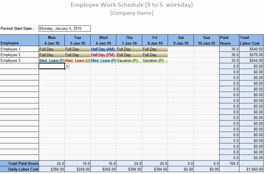 Free Employee Schedule Template Awesome Employee Work Schedule Template Word Excel