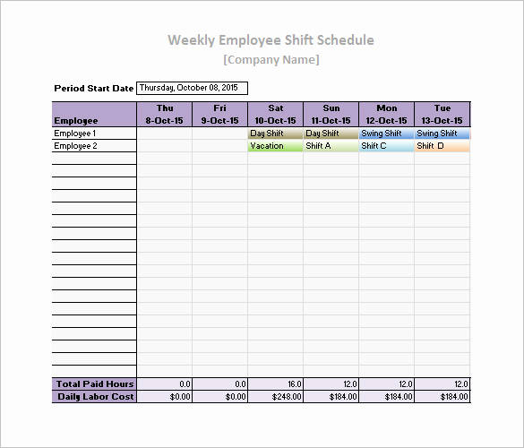 Free Employee Schedule Template Awesome Work Schedule Templates – 9 Free Word Excel Pdf format