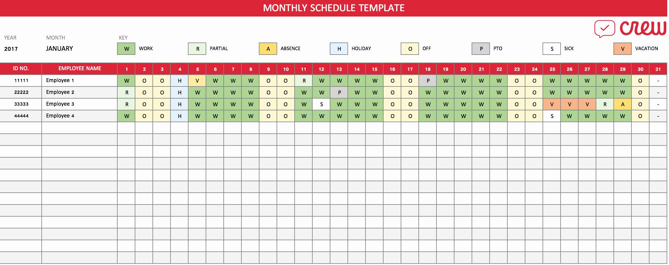 Free Employee Schedule Template Inspirational Free Monthly Work Schedule Template Crew