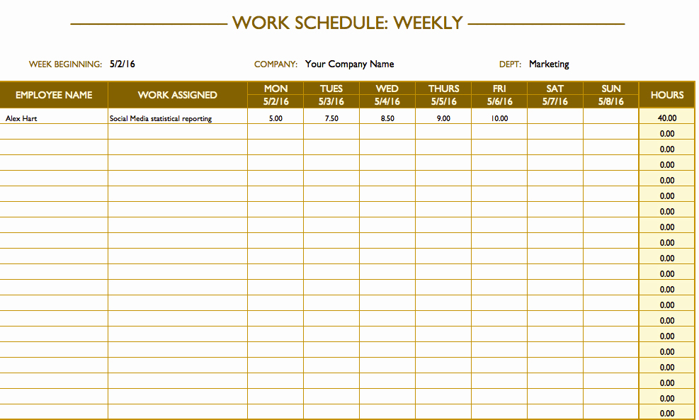 Free Employee Schedule Template Luxury Free Work Schedule Templates for Word and Excel