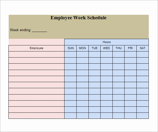 Free Employee Schedule Template New Work Schedule Template 15 Download Free Documents In