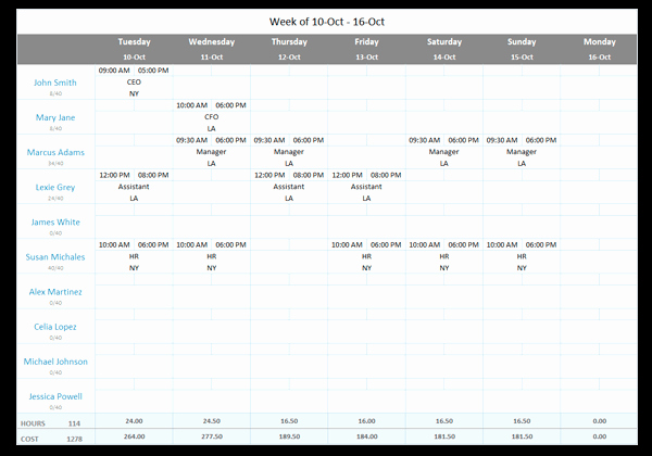 Free Employee Schedule Template Unique Free Employee Work Schedule Template for Excel [download