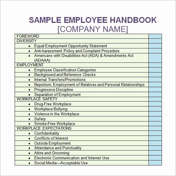 Free Employees Handbook Template Best Of Employee Handbook Template