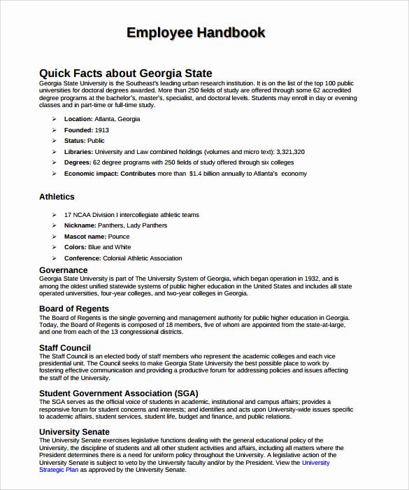 Free Employees Handbook Template Elegant Sample Employee Handbook 9 Documents In Pdf