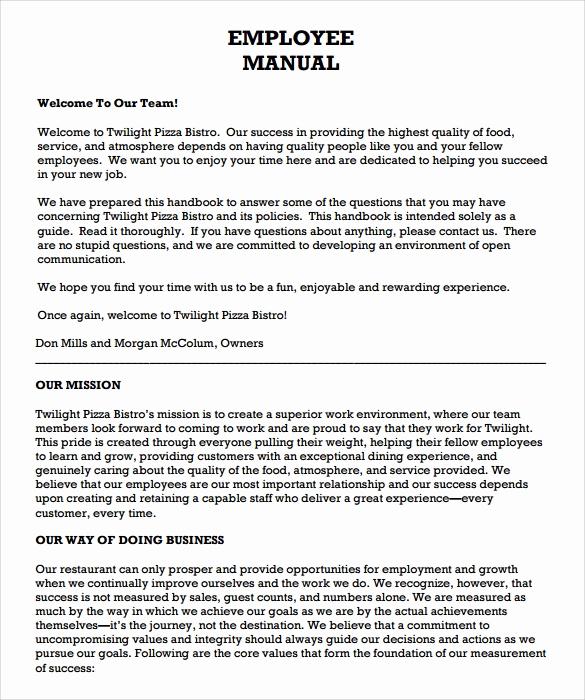 Free Employees Handbook Template Fresh 9 Sample Employee Manual Templates