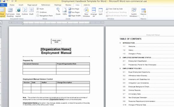 Free Employees Handbook Template Fresh Employment Handbook Template for Word