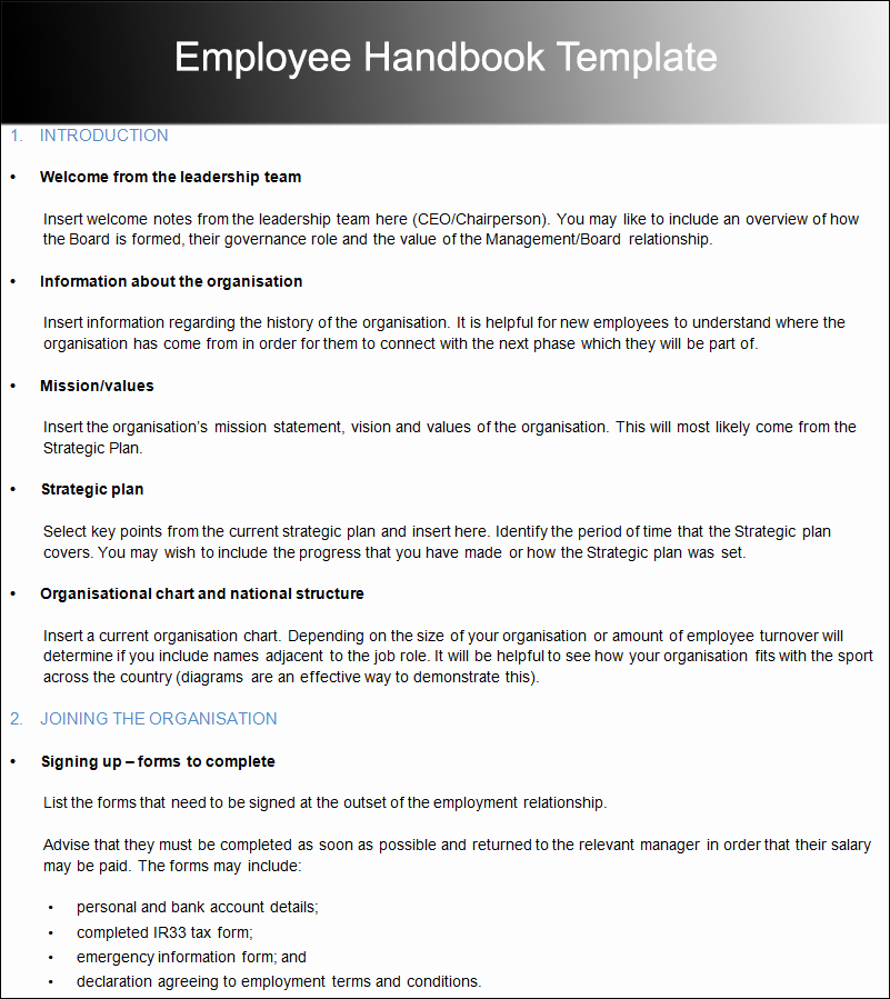 Free Employees Handbook Template Inspirational Free Employee Handbook Template for Small Business