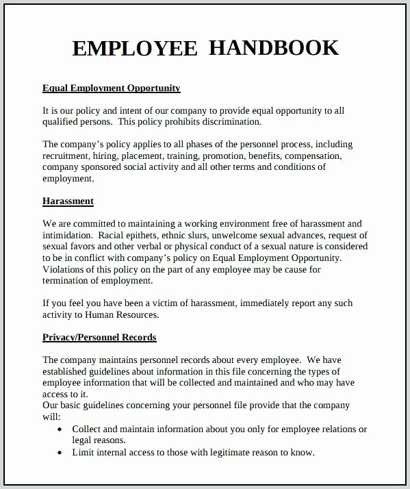 Free Employees Handbook Template Lovely Employee Handbook Template for Small Business – Employee