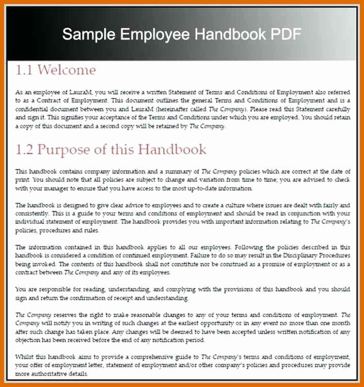 Free Employees Handbook Template Luxury 7 8 Employee Handbook Example