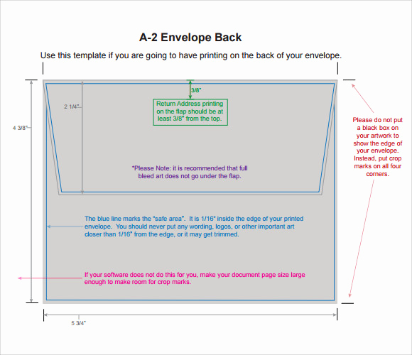 Free Envelope Printing Template New Sample A2 Envelope Template 7 Documents In Word Pdf