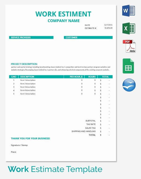 Free Estimate Template Pdf Unique 26 Blank Estimate Templates Pdf Doc Excel Odt