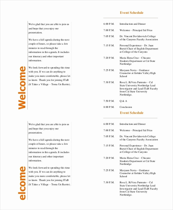 Free event Program Templates Inspirational event Program Template