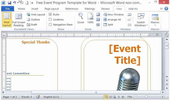 Free event Program Templates Lovely Free event Program Template for Word