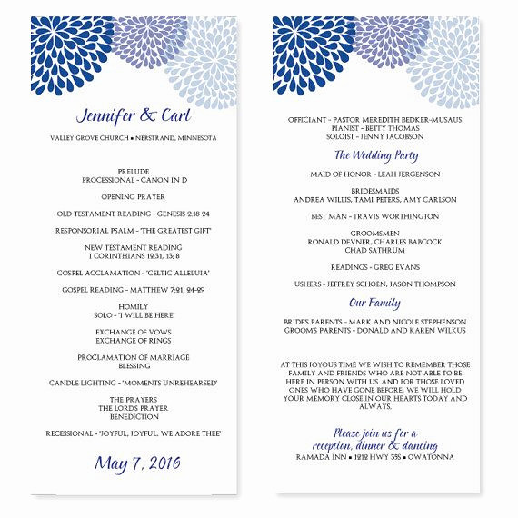 Free event Program Templates Lovely Wedding Program Template Chrysanthemum Blue Tea Length