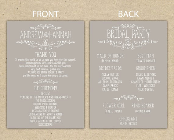 Free event Program Templates Unique Items Similar to Wedding Program Wedding Reception