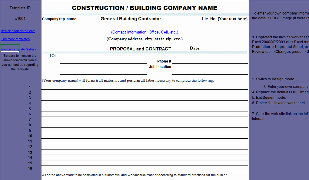 Free Excel Construction Templates Best Of Construction Proposal Template
