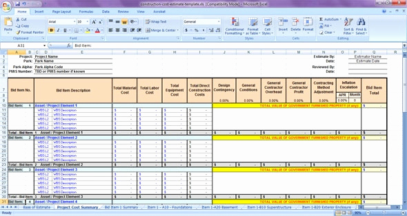 Free Excel Construction Templates New Construction Estimating Spreadsheet Template Lovely