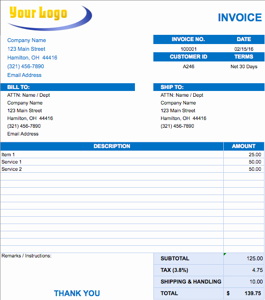 Free Excel Invoice Template Elegant List Of 8 Best Invoice formats In Excel