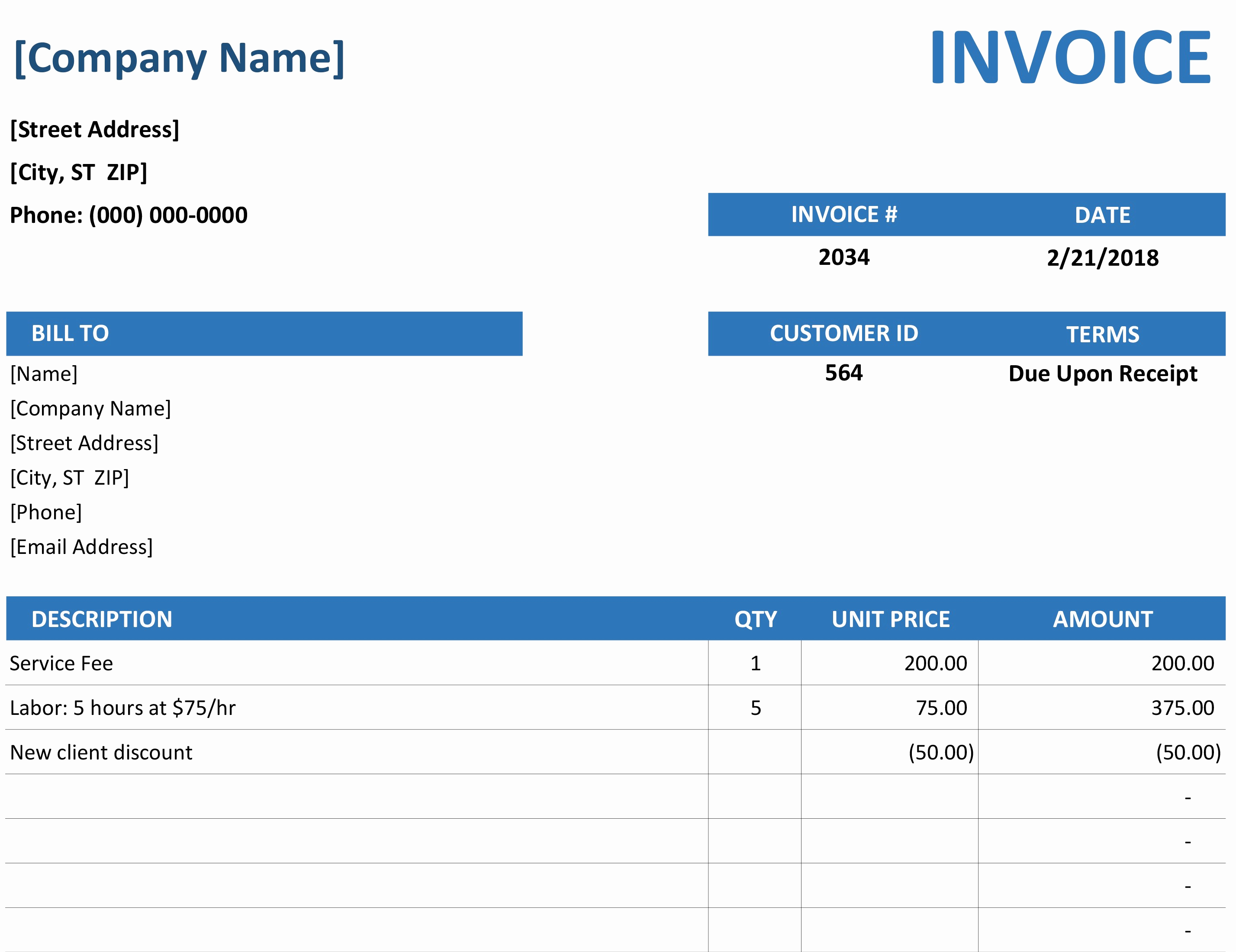 Free Excel Invoice Template Fresh Invoice