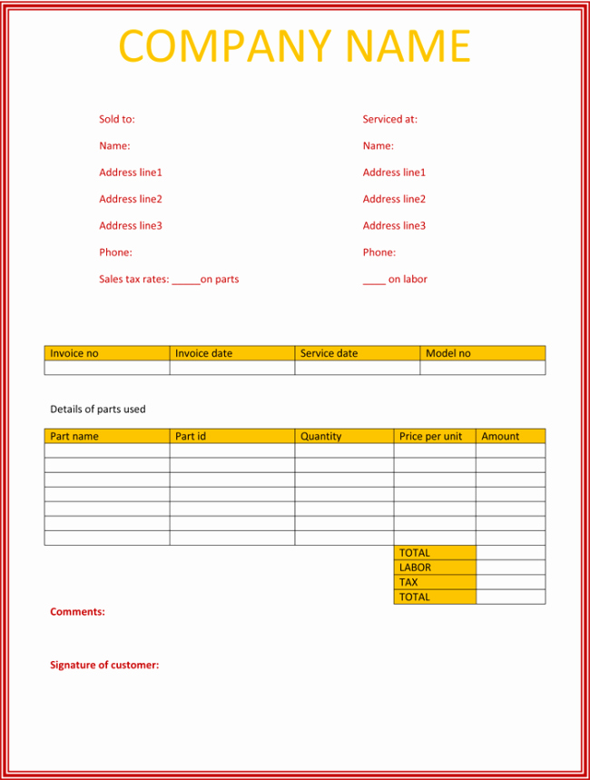 Free Excel Invoice Template Inspirational 5 Service Invoice Templates for Word and Excel