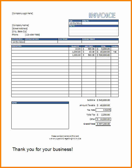 Free Excel Invoice Template Lovely 10 Running Bill format In Excel