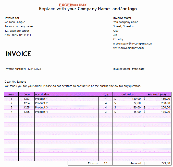 Free Excel Invoice Template New Free Invoice Template for Microsoft Excel by Excelmadeeasy