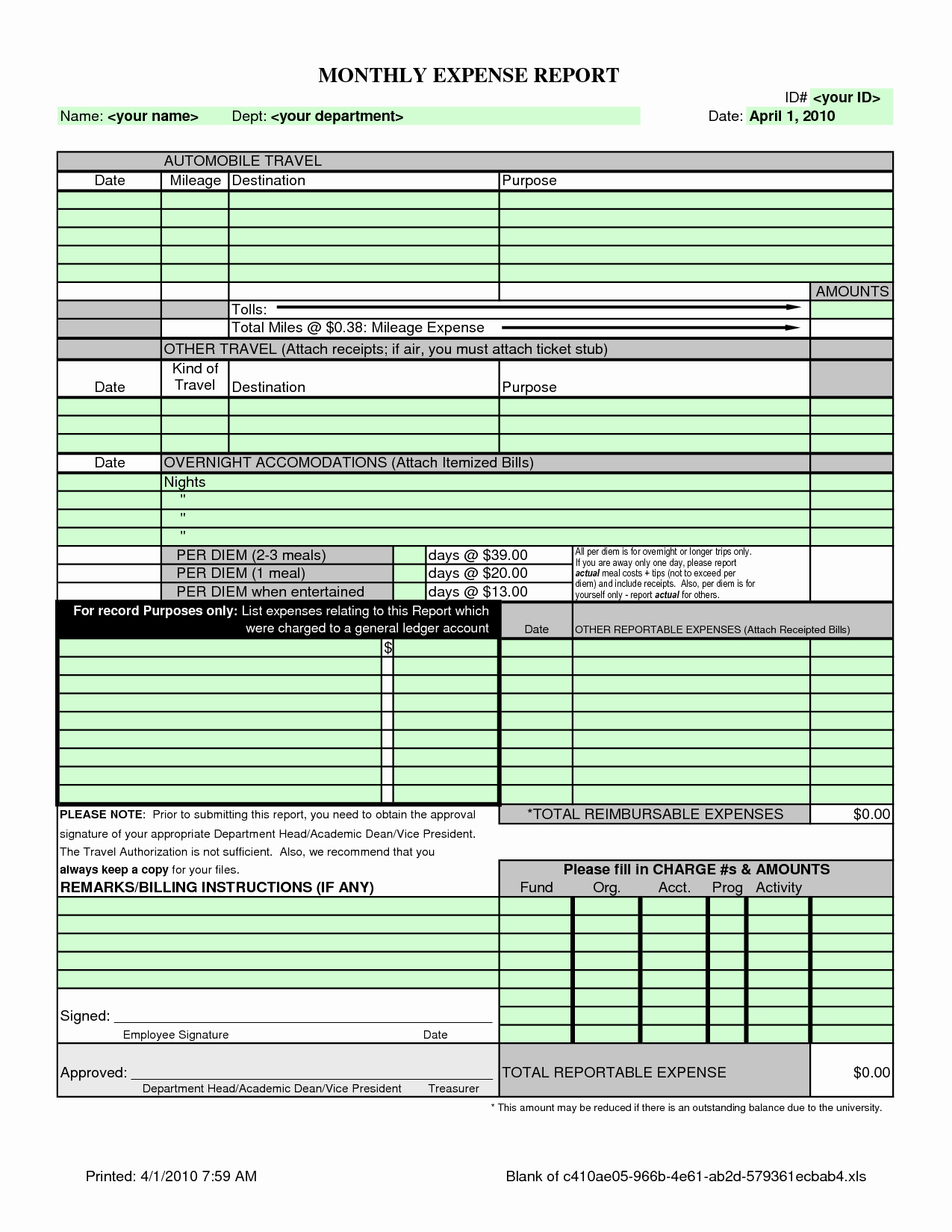 Free Expense Report Template Best Of Monthly Expense Report Template