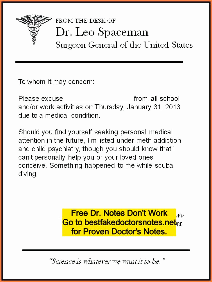 Free Fake Doctors Note Fresh Fake Doctors Note Excuse Templates for Work & School Pdf