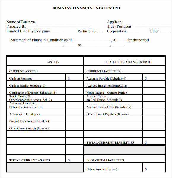 Free Financial Statement Template Fresh Personal Financial Statement form – 7 Free Samples