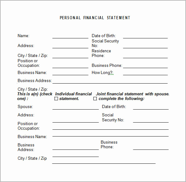 Free Financial Statement Template Fresh Personal Financial Statement Templates 15 Download Free