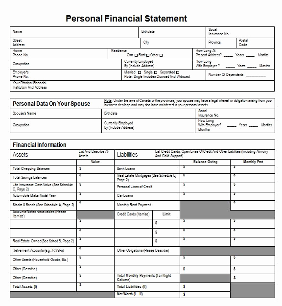 Free Financial Statement Template Inspirational 40 Personal Financial Statement Templates & forms