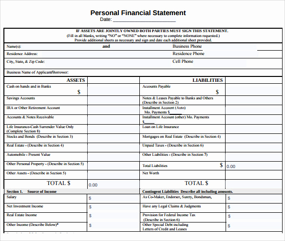 Free Financial Statement Template Luxury 12 Sample Personal Financial Statements