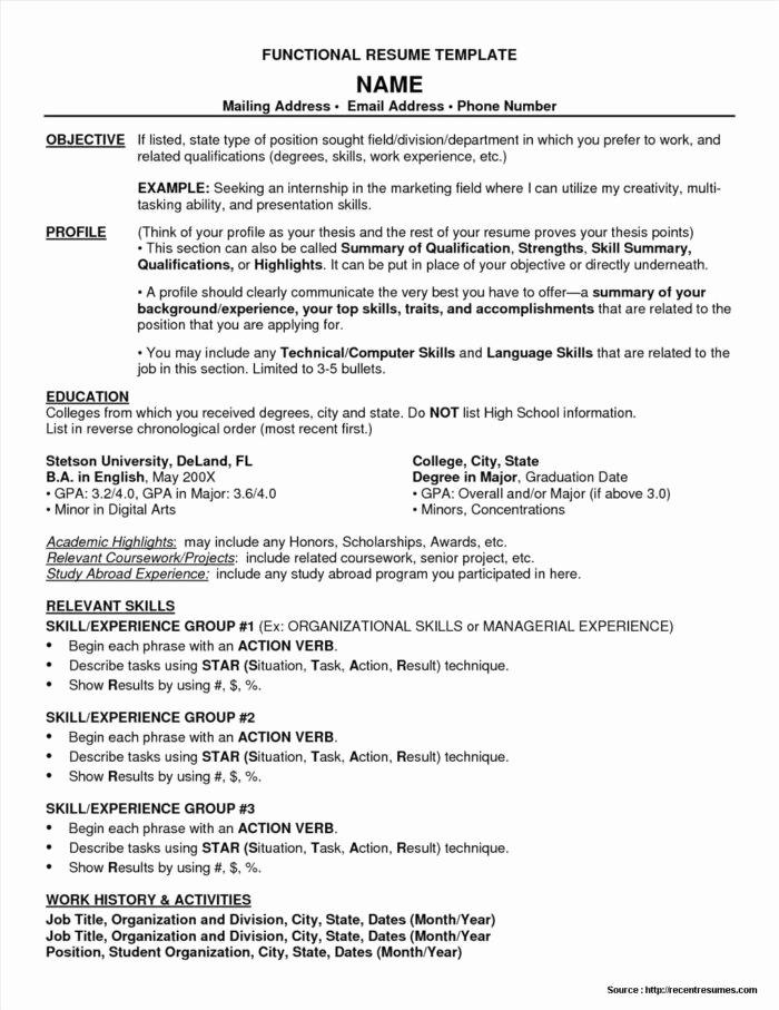 Free Functional Resume Template Awesome Functional Resume Template Free Resume Resume Examples