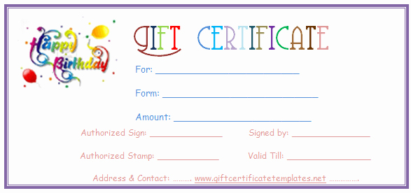 Free Gift Certificate Templates Fresh Simple Balloons Birthday T Certificate Template