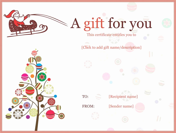 Free Gift Certificate Templates Inspirational Christmas Ball Trees Gift Certificate Template