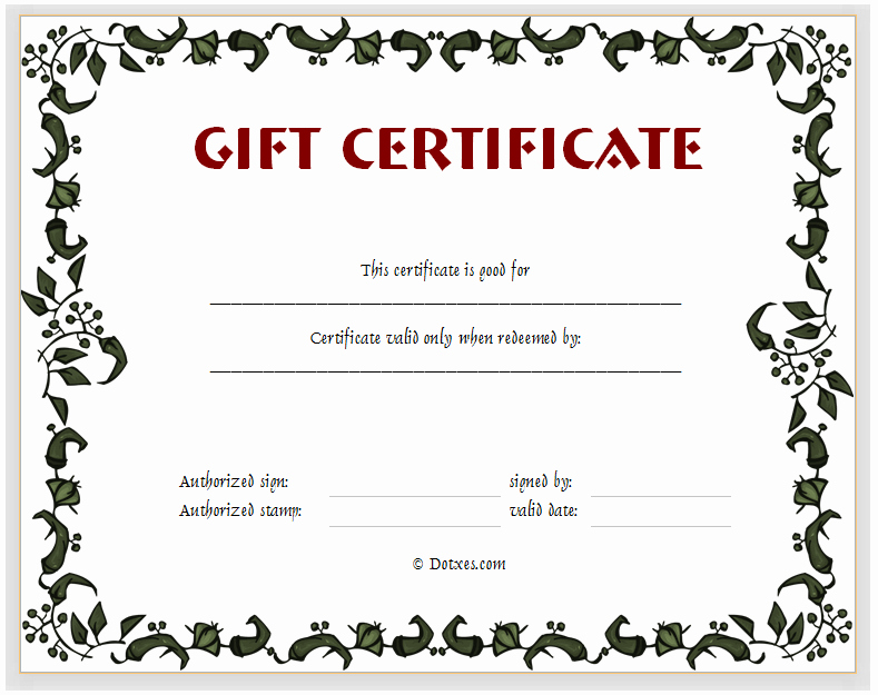 Free Gift Certificate Templates Inspirational Gift Certificate Template Floral Design Dotxes