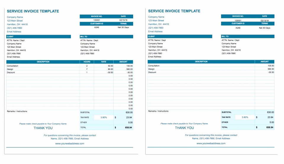 Free Google Sheets Templates New Free Google Docs Invoice Templates