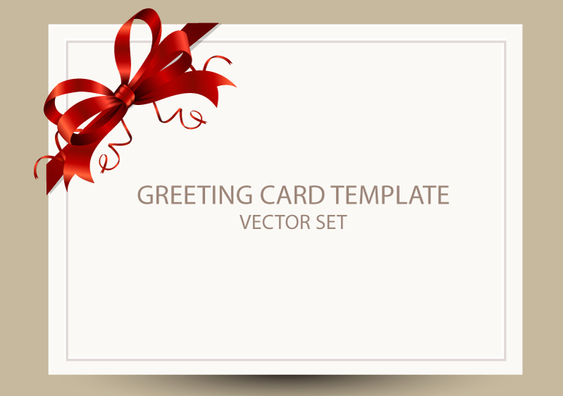 Free Greeting Card Templates New Freebie Greeting Card Templates with Red Bow – Ai Eps