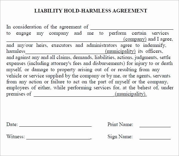 Free Hold Harmless Agreement Awesome Hold Harmless Agreement 7 Free Pdf Doc Download