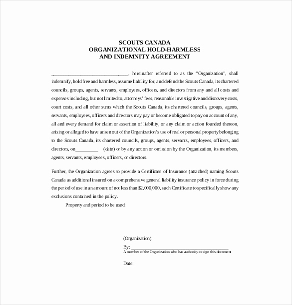 Free Hold Harmless Agreement Best Of Hold Harmless Agreement Template – 14 Free Word Pdf