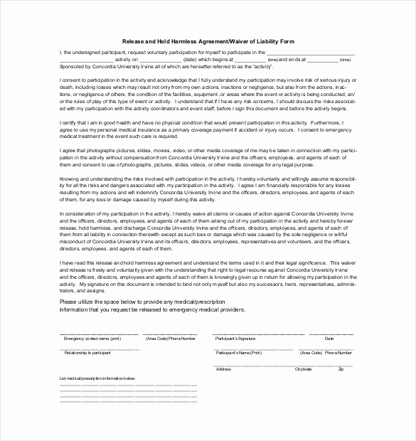 Free Hold Harmless Agreement Best Of Hold Harmless Agreement Template – 15 Free Word Pdf