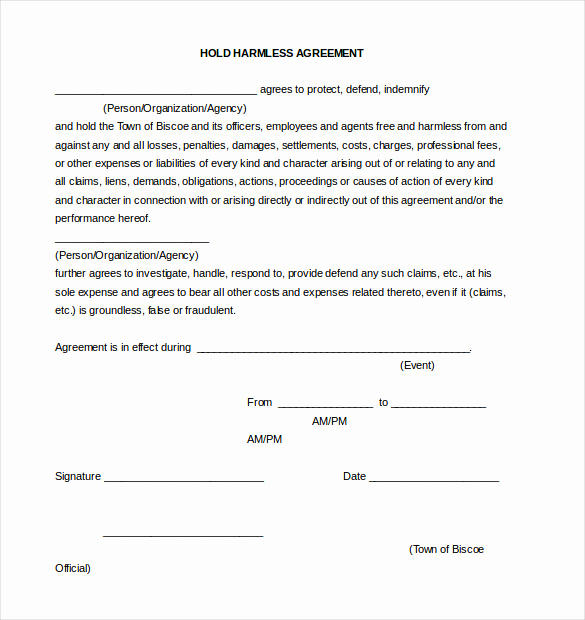Free Hold Harmless Agreement Elegant Hold Harmless Agreement Template – 15 Free Word Pdf