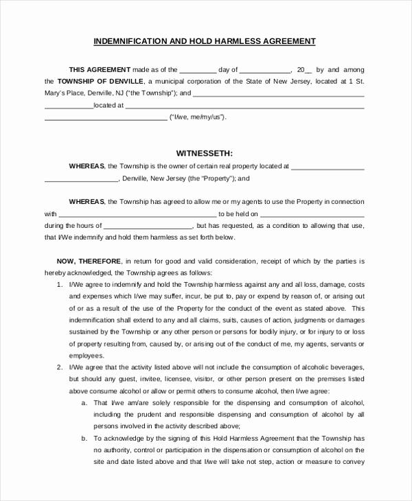 Free Hold Harmless Agreement Elegant Sample Hold Harmless Agreement form 12 Free Documents