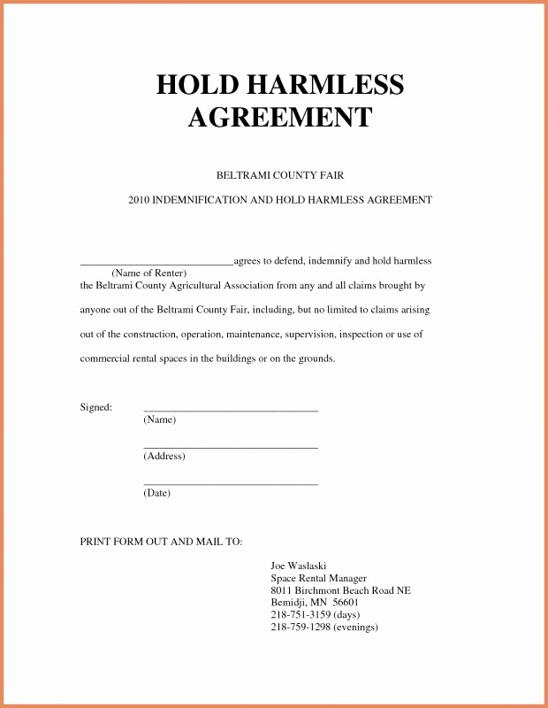 Free Hold Harmless Agreement Inspirational Hold Harmless form