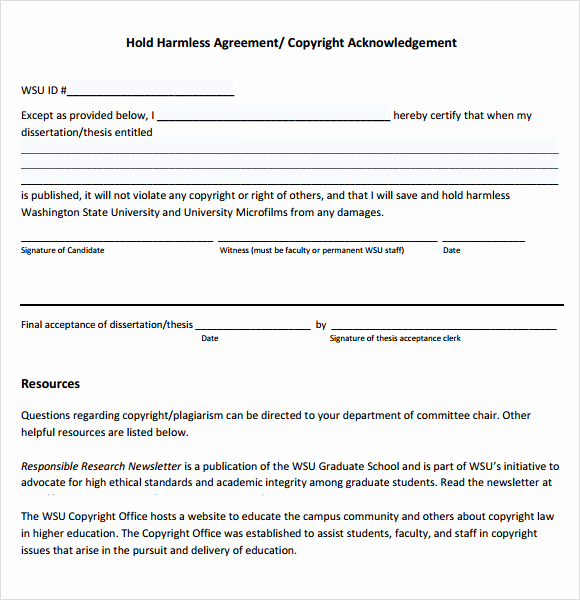 Free Hold Harmless Agreement Lovely 9 Sample Hold Harmless Agreements