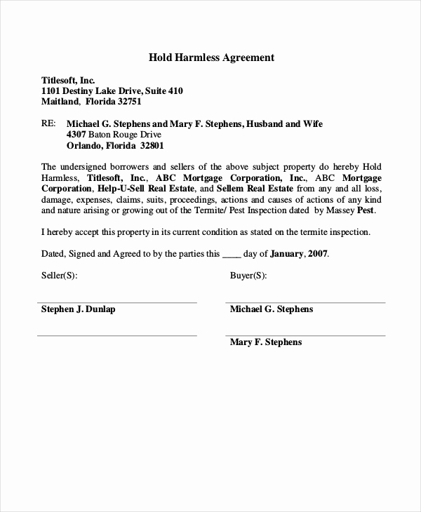 Free Hold Harmless Agreement New 12 Hold Harmless Agreements Free Sample Example