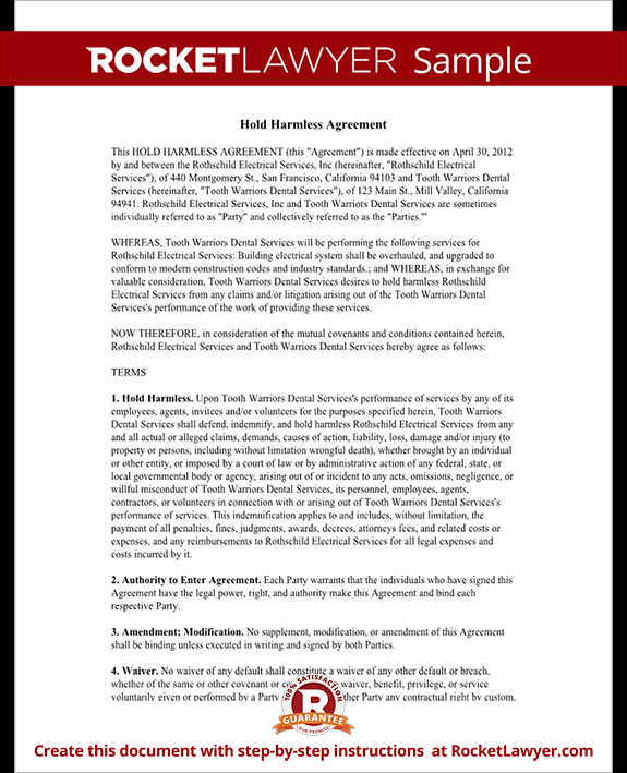 Free Hold Harmless Agreement New Hold Harmless Agreement Template Letter with Sample