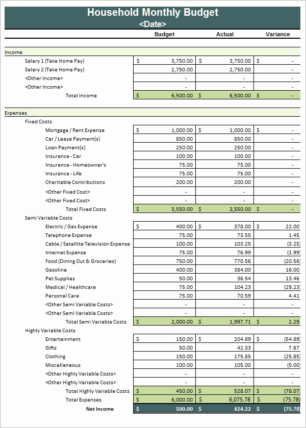 Free Household Budget Template Elegant Household Bud Template 8 Download Free Documents In