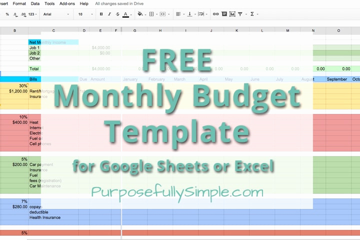 Free Household Budget Template Fresh Free Monthly Bud Template Purposefully Simple